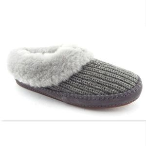 New UGG Gray Shearling Rib-Knit Slippers Shoes 11